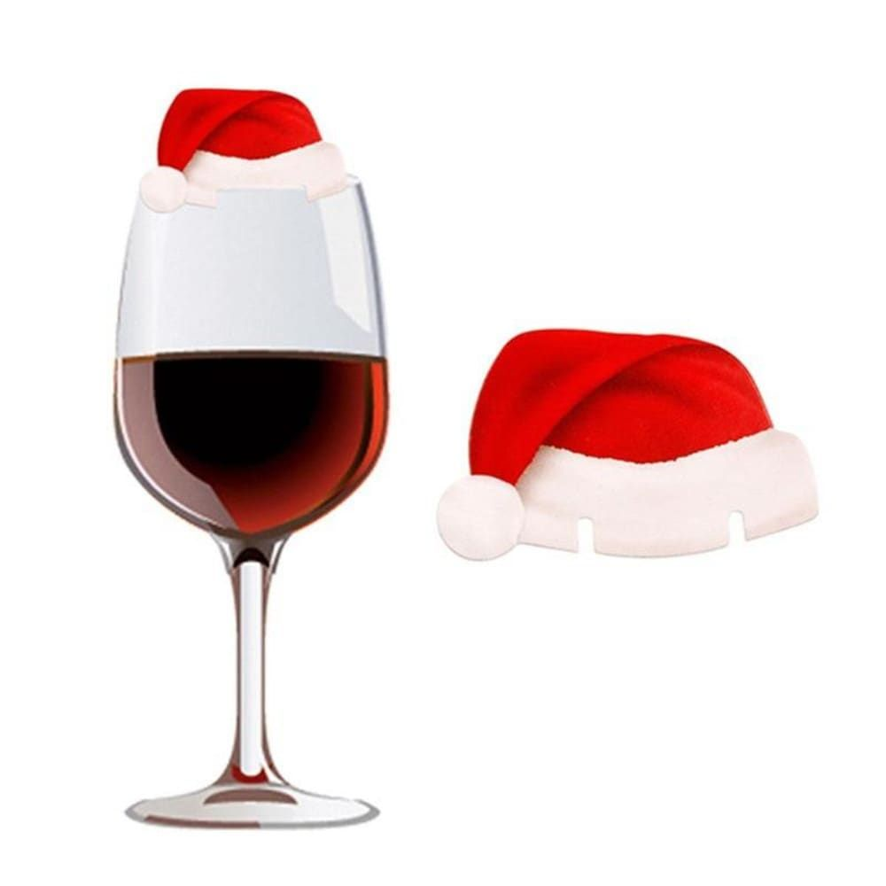 Christmas Santa Hat Wine Glass Decoration New Year Party Supplies 10pcs Christmas Party Table Decorations Wine Glass Decor Christmas Place Cards