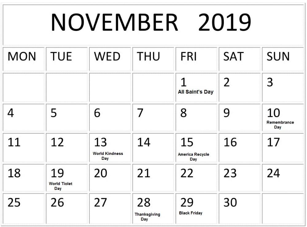 November 2019 Calendar With Holidays Printable Planner November Calendar Calendar Template Calendar Layout