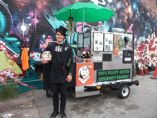 The Frankenstand This Looks Awesome Food Cart Hot Dog Cart Vegan Hot Dog
