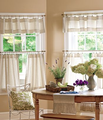 For The Kitchen And Or Dining Room Ticking Stripes Tier Curtains In Natural 45