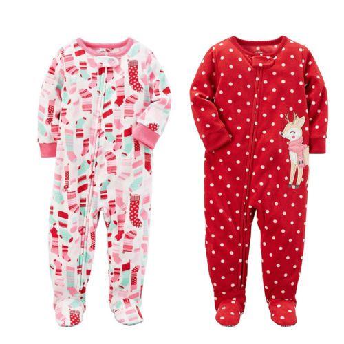 584c4d25907e Sleepwear 147215  Carter S Baby Girls One Piece Fleece Footed Pajama ...