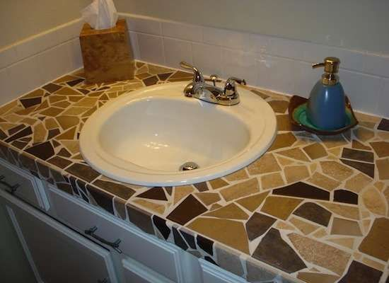 Diy Tile Mosaic Bathroom Vanity Diy Countertops Tiled Countertop Bathroom Tile Countertops