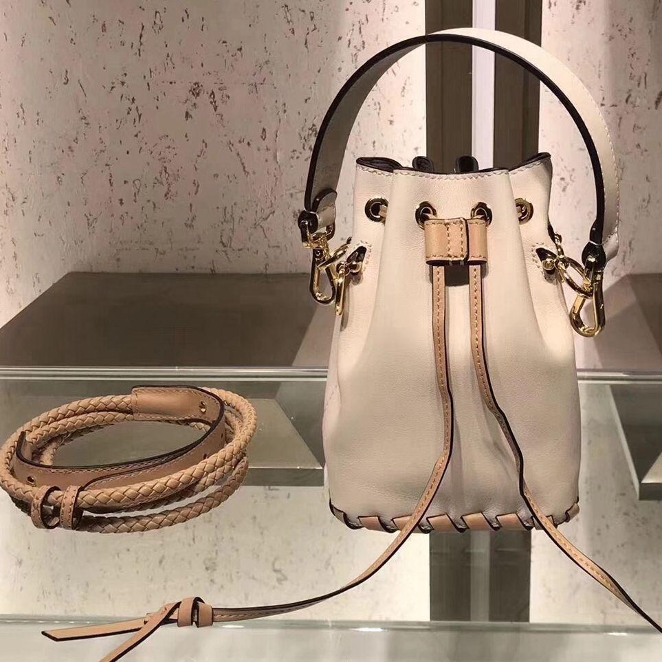 efbd65f3bd1 Fendi Mon Tresor Leather Braided Bucket Bag Off White/Kahki 2018 ...