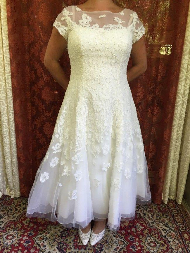 ca4628551d5a Oleg Cassini CMK-513 Cap Sleeve Illusion Wedding Dress Wedding Dress ...