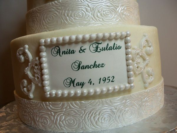 60th anniversary cake in butter cream with fondant ...
