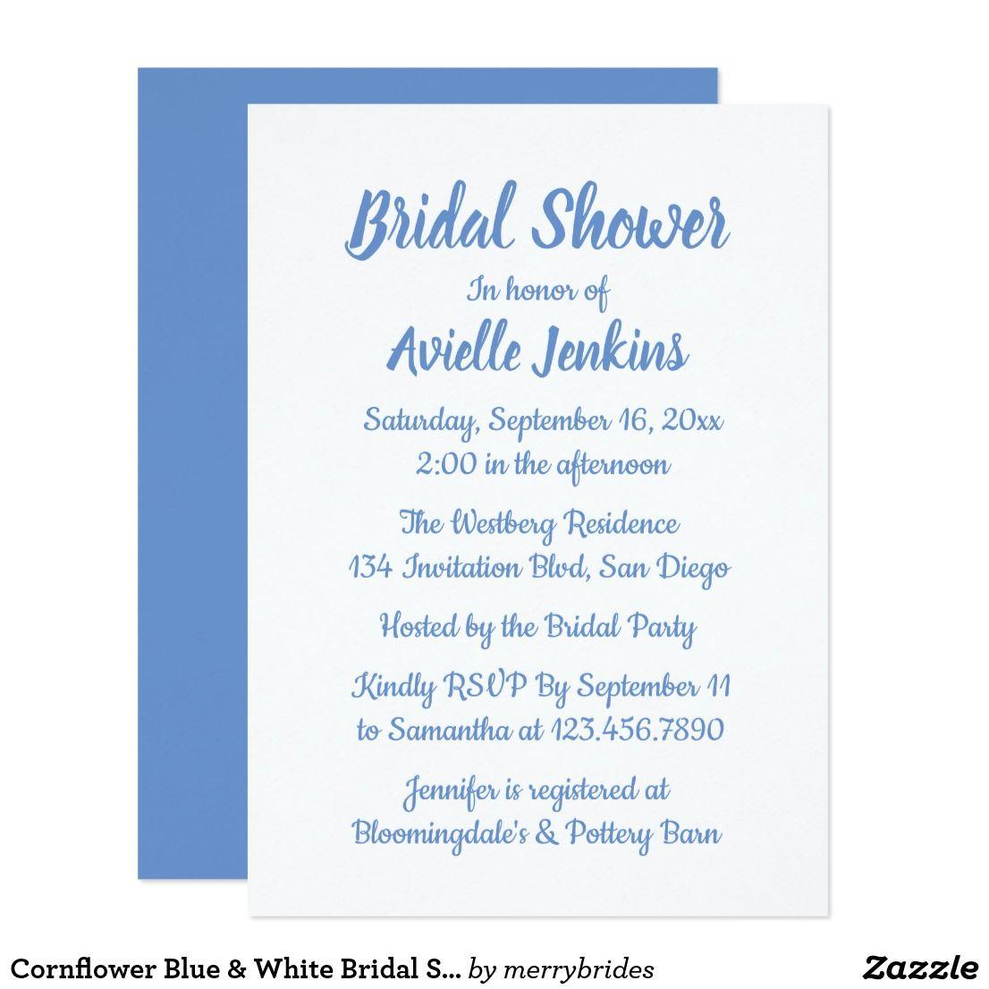 Cornflower Blue & White Bridal Shower Wedding Card | White bridal ...