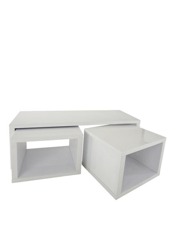 Echo Coffee Table With 2 Pull Out Side Tables In High Gloss Black, White