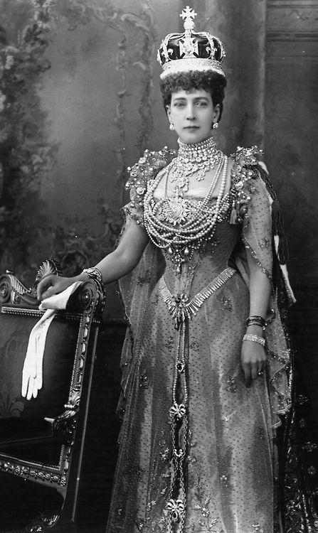 Queen Alexandra in coronation dress. 1902.