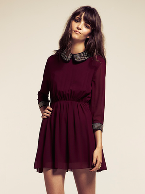 d8eb06b884 Dahlia Alexa Burgundy Studded Peter Pan Collar Dress