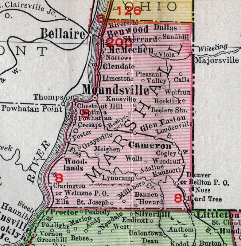 Marshall County, West Virginia, 1911, Map, Moundsville, Glen ...