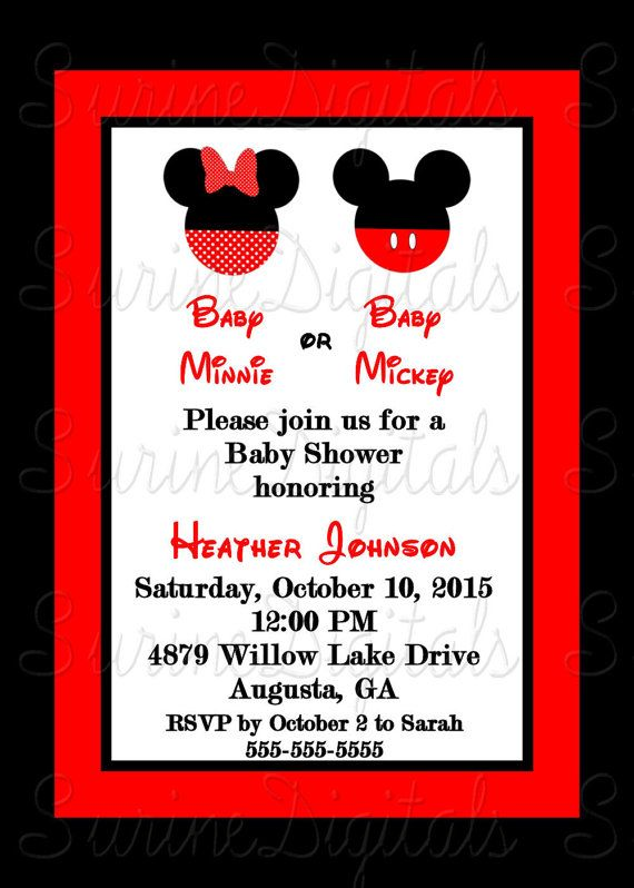 minnie and mickey mouse baby shower invitation by