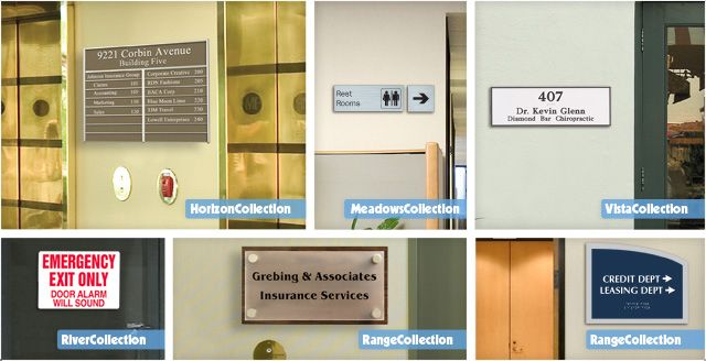 different kinds of custom office door signs