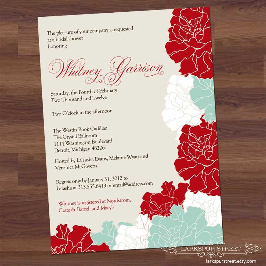 Red and aqua floral wedding invite # Pin++ for Pinterest # love the ...