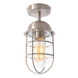 Bathroom Lights Screwfix zinc kari 60w satin nickel ceiling-mounted outdoor cage light