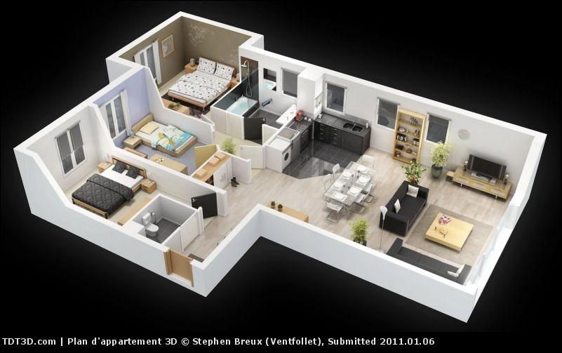 Maison - Maison Bois - 3 Chambres plus suite parentale - Maisons - construire sa maison 3d
