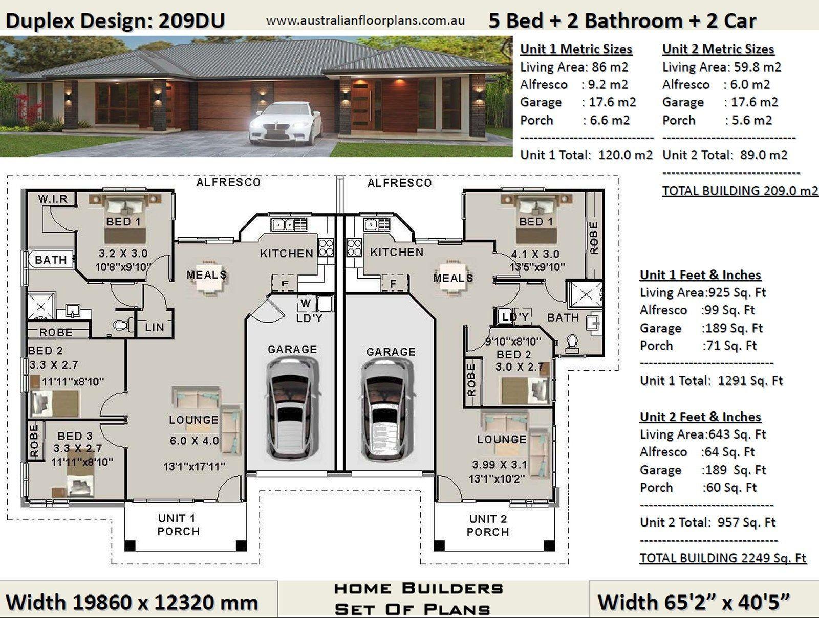 5 Bed 2 bath duplex house plans 3 x 2 bedroom duplex