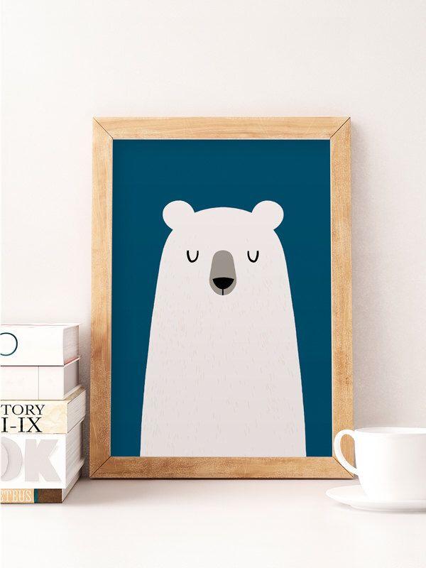 Bear Print Cute Nursery Wall Decor Art Work Poster Kids Room Minimalist By Norsekids On