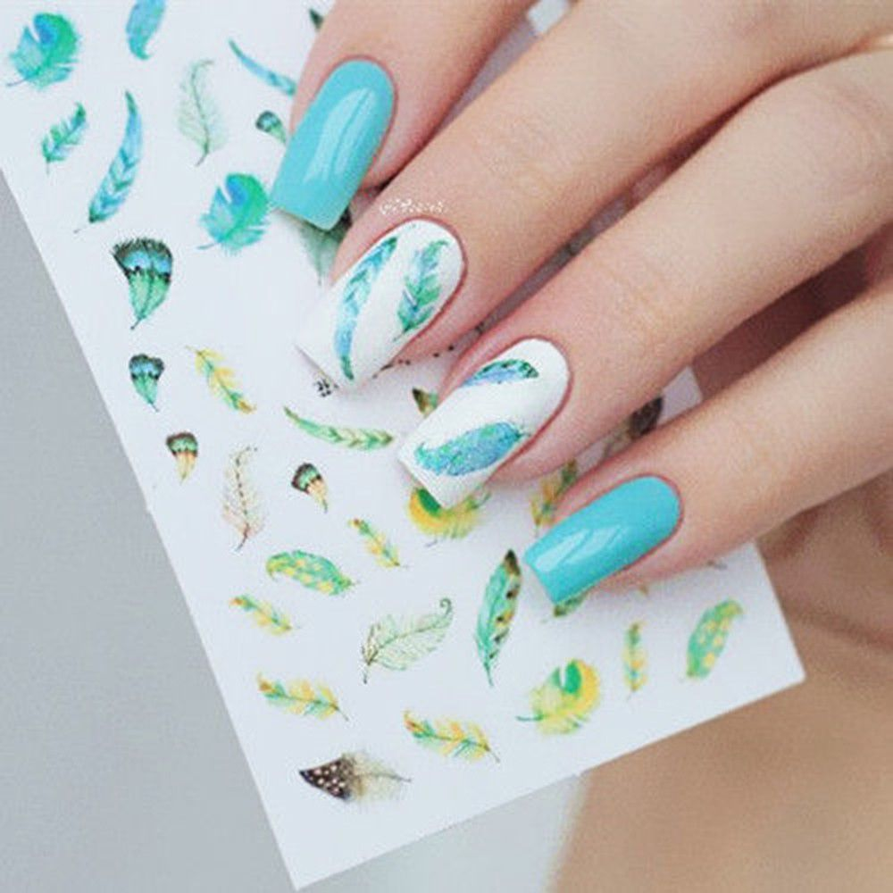 2sheets Diy 3d Feather Nail Stickers Decal Nail Art Manicure