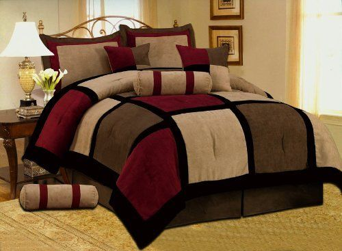 7 pc modern black burgundy red brown suede comforter set for Black and burgundy bedroom ideas