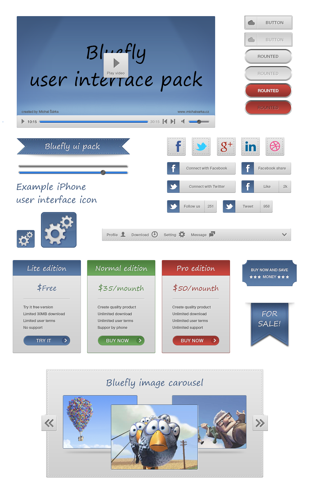 Bluefly user interface pack, Slider, Feedback, Credit Card, Button, Menu, Graph, Payement, Images, Carousel