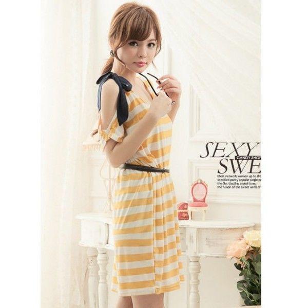 Yellow Ladies Fashion One Shoulder Hole Stripes Cotton Dresses One... ($11) via Polyvore