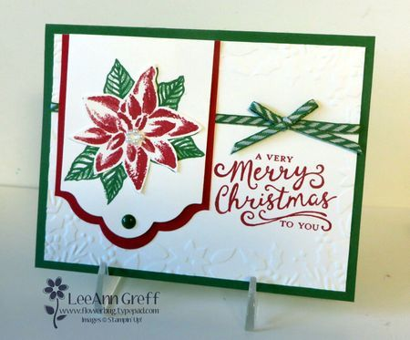 handmade Christmas card by LeeAnn Graf ... great use of stamps .... red, green and white ... poinsettia focal image ... Stampin' Up!