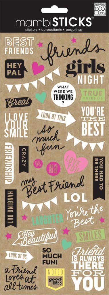 Doodle words best friends clear stickersscrapbook