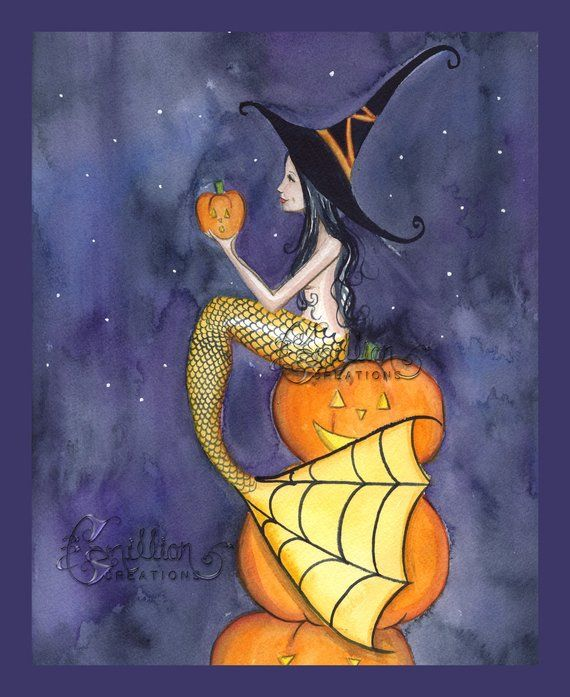 Little Kitty Witch Mermaid print from Original Painting By Grimshaw Halloween