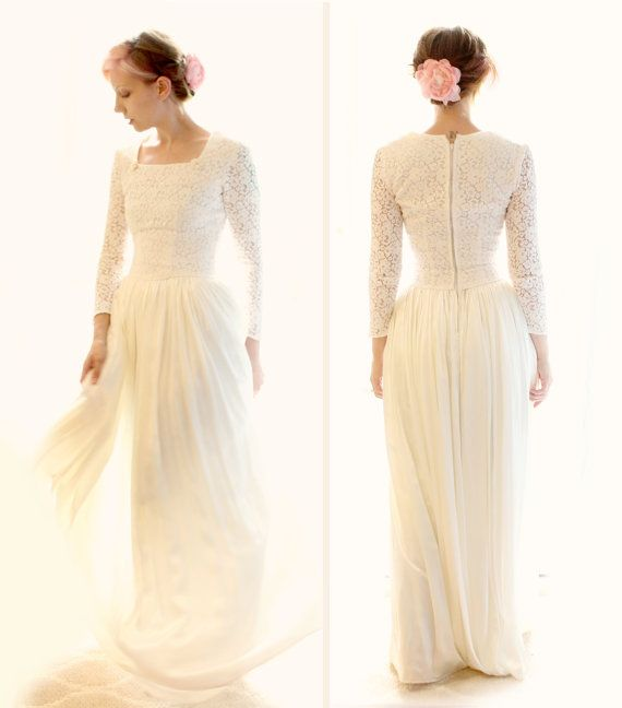 Lace sleeves 1940s vintage wedding dress by FadeToPink on Etsy ...