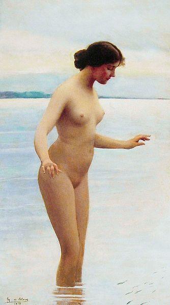 Artist             [show]Eugene de Blaas (1843–1932)                                                                                                 ·   ·   ·   ·   ·   ·   ·             Title       English: In the water     Français : Dans l'Eau         Date     1914         Medium     oil on cradled panel