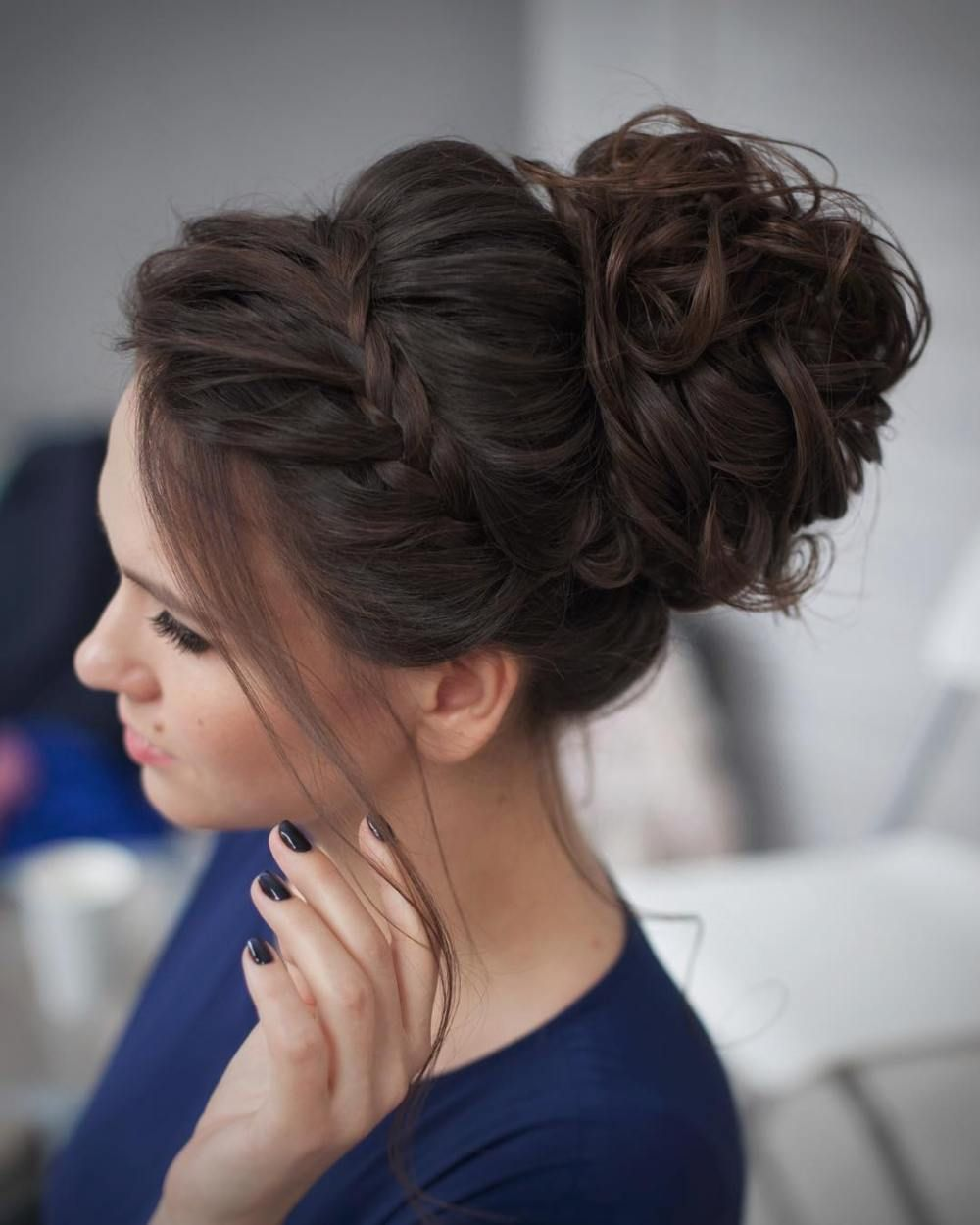 Curly Messy Bun Prom Updo Bridesmaids Updos Hair Wedding Cute Hairstyles
