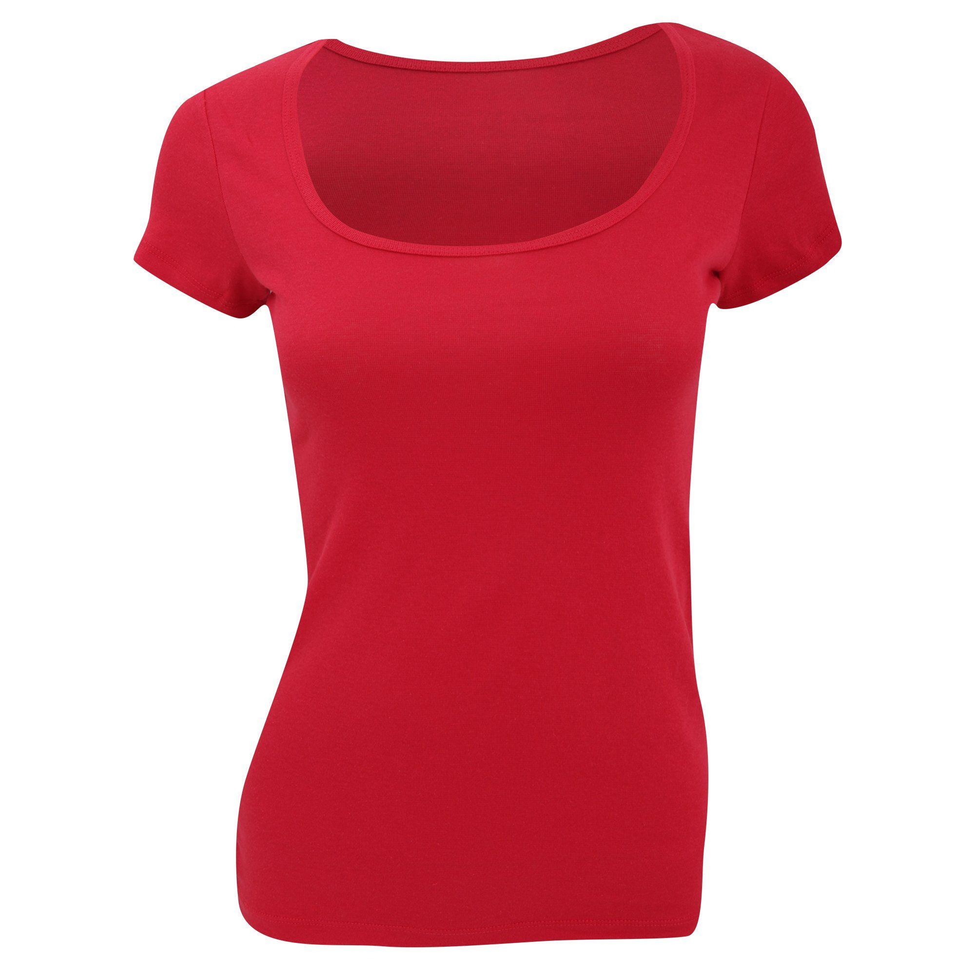 Bella Ladies/Womens Sheer Rib Scoop Neck Short Sleeve T