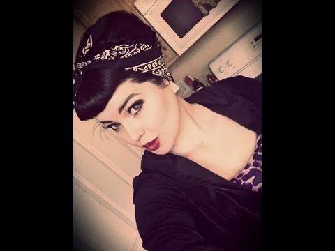 ▶ Rockabilly/Pin Up Look:Bettie Bangs and Bouffant Style With Bandana - YouTube