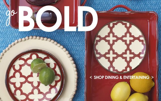Love this bold red!  Baking dishes and dessert plates make your dinner party a smash.