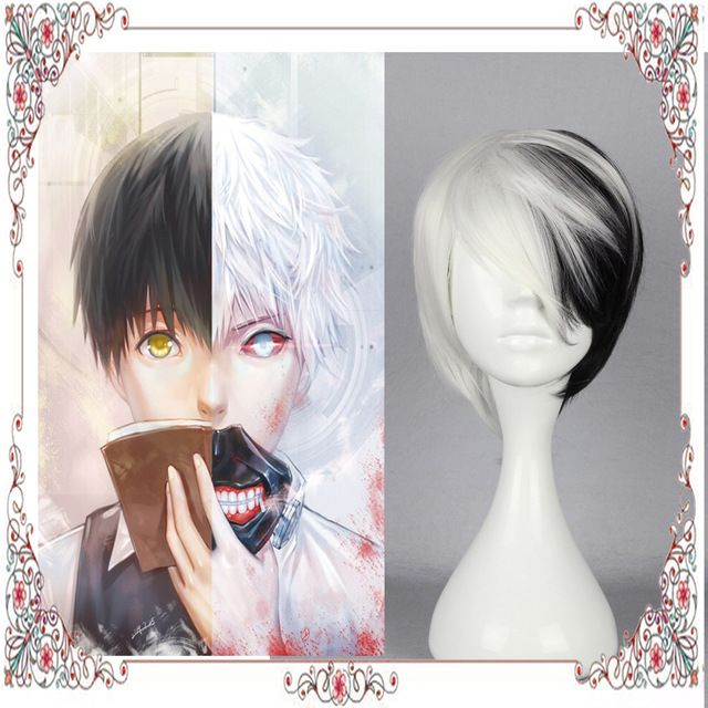 New Sky Hair Wig Harajuku Anime Tokyo Ghoul Wig Half Black With Half White Color Cosplay Short Straight Synthetic Hair Wig In Co Wig Hairstyles Wigs Anime Wigs