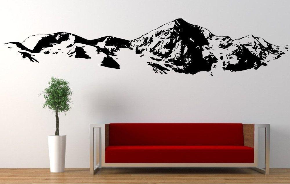 mountain range large wall decal/mountain scene vinyl wall art 001 by ...