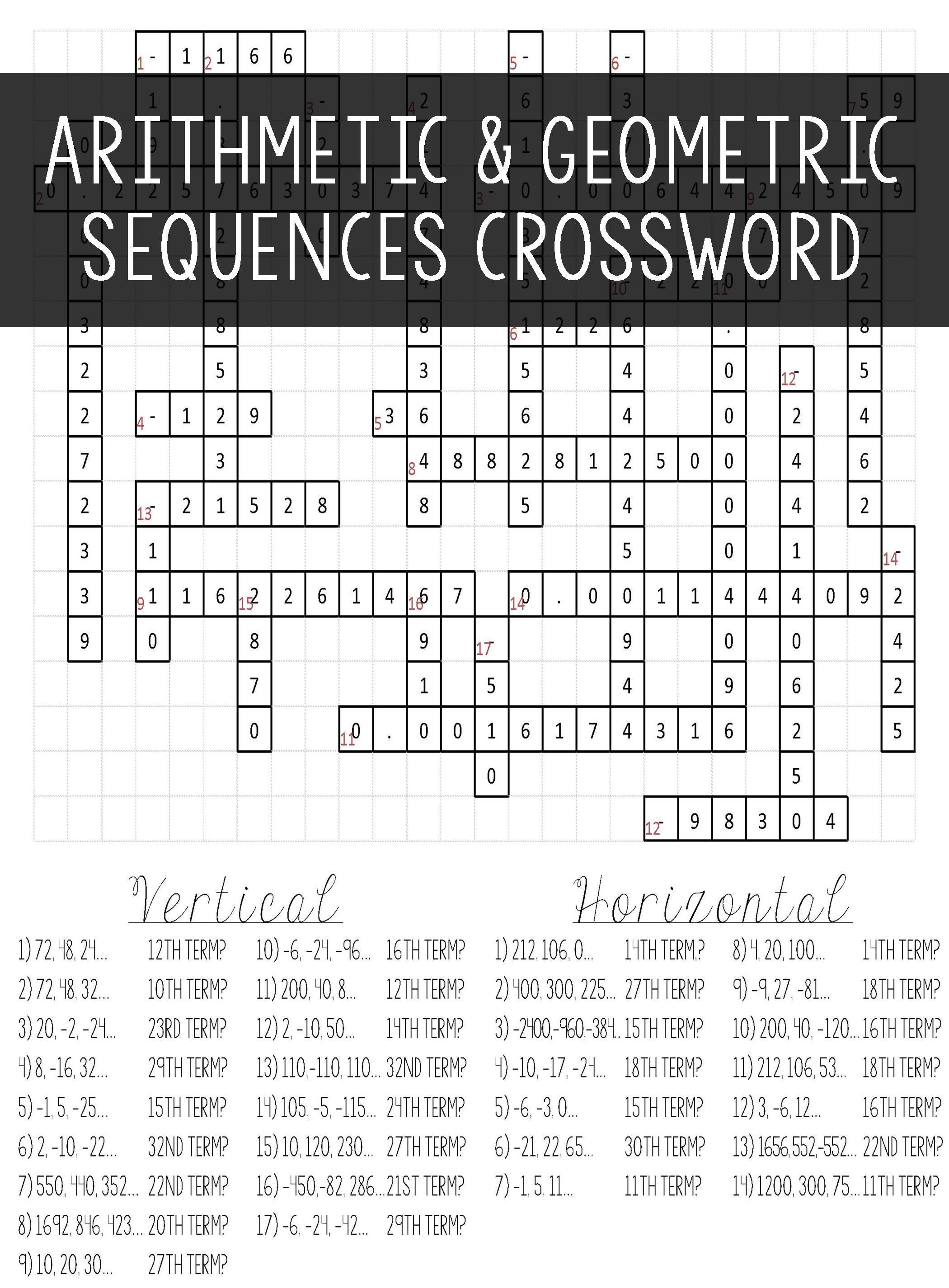 Arithmetic \u0026 Geometric Sequences Crossword Puzzle Activity Worksheet    Arithmetic sequences [ 2850 x 2100 Pixel ]