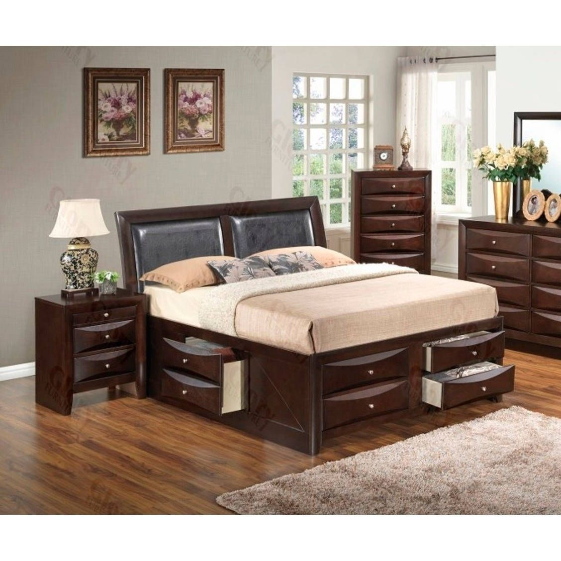 Lyke home nora queen six drawer storage bed brown cappuccino