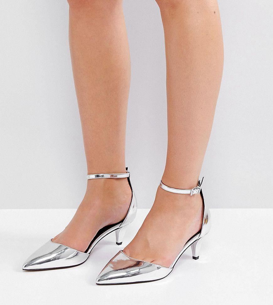 Asos Soda Pop Wide Fit Kitten Heels Silver Prom Shoes Silver Prom Shoes Prom Heels