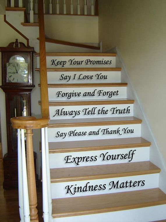 family stair step home decor vinyl decal sticker set for house room hallway wall staircase. Black Bedroom Furniture Sets. Home Design Ideas