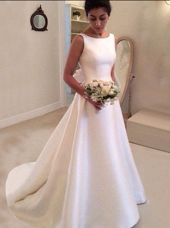Aline wedding dressesmodest wedding dresssatin wedding dressopen