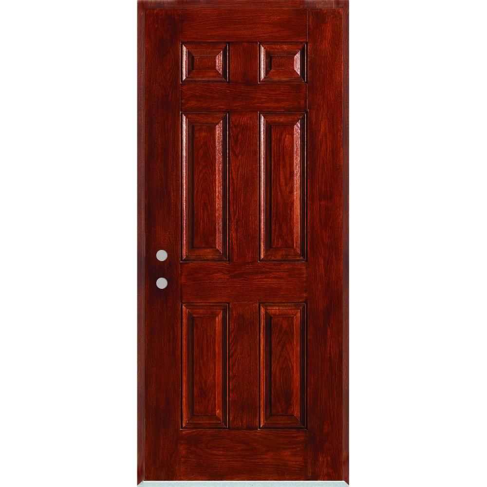 Stanley Doors 36 In X 80 In Right Hand Infinity 6 Panel Stained