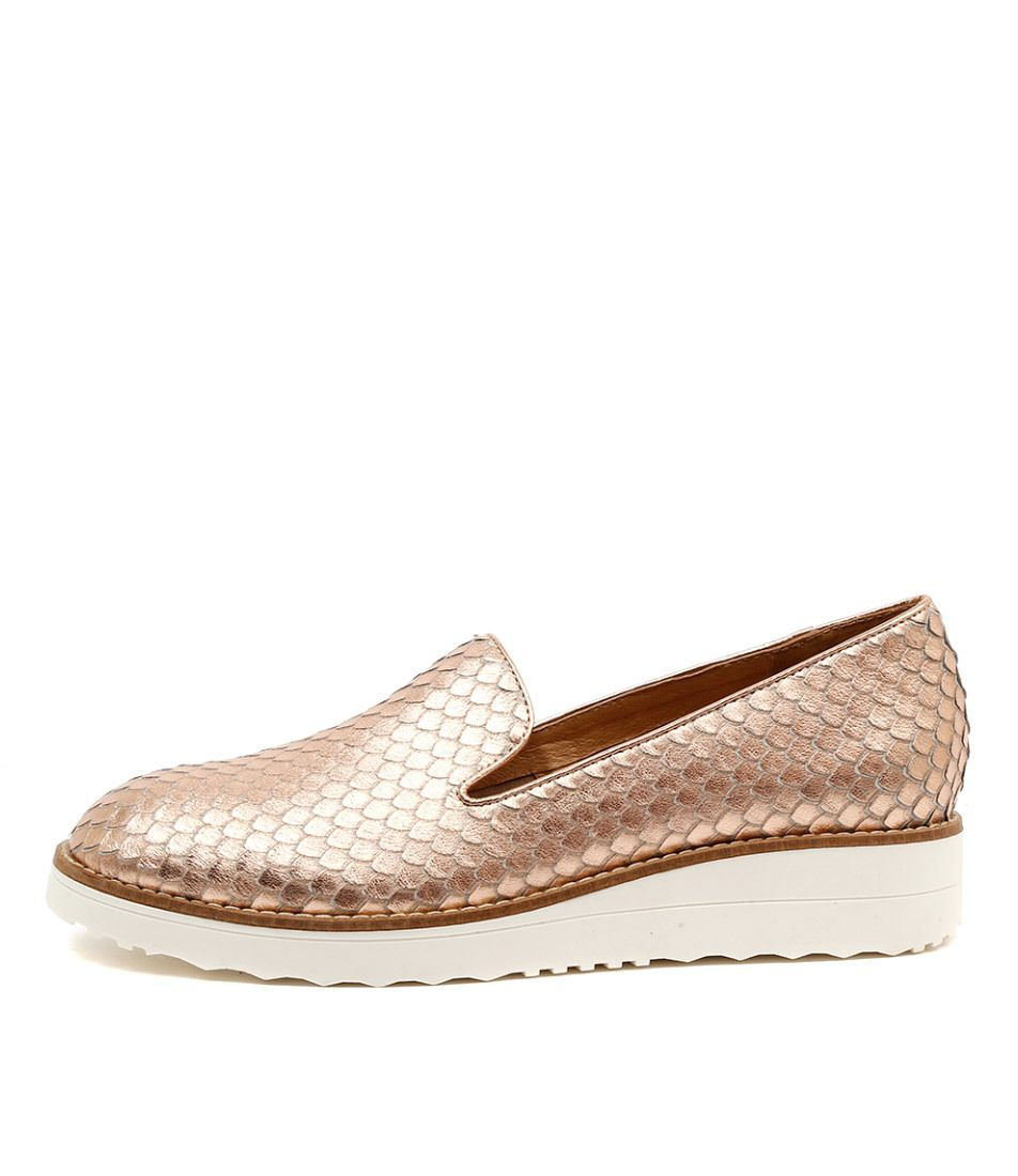 Top End Shoes - OLUS Flatform Loafers in Rose Gold Cut Leather, Call 1800 020 089 for Stockists (http://www.topendshoes.com.au/olus-flatform-loafers-in-rose-gold-cut-leather/)