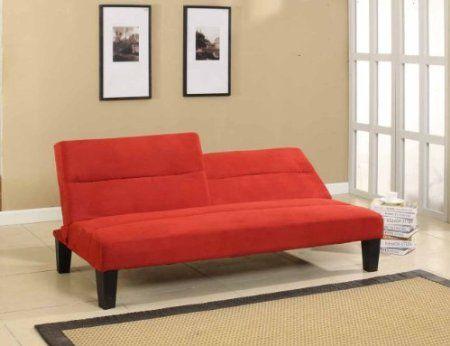 Com Kings Brand Microfiber Split Back Adjule Klik Klak Sofa Futon Bed Sleeper Red Kitchen Dining
