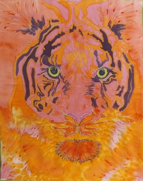 "Seidenmalerei, Seidenkunst Tiger, ""Diana"" von Rockitas Silks  auf DaWanda.com This Handpainted Tiger is waiting for you on Habutai Silk 10.0 she is quite sophisticated and tame in your home."