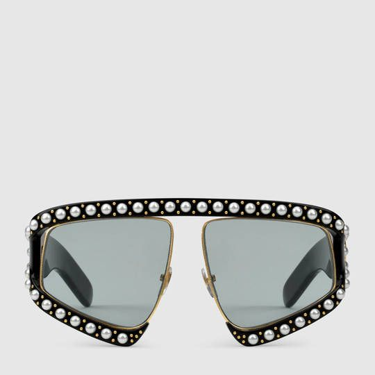 65379312145 Gucci Rectangular-frame acetate sunglasses with pearls