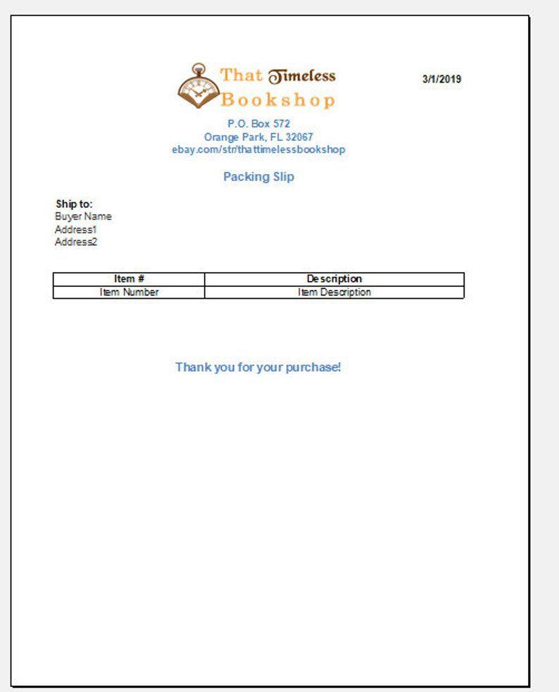 Ebay Etsy Mercari Packing Slip Spreadsheet Template Version Two