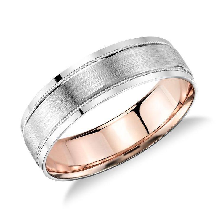 Men S Milgrain Brushed Inlay Wedding Ring Platinum And 18k Rose Gold 6mm Men S Platinum Rose Gold Cool Wedding Rings