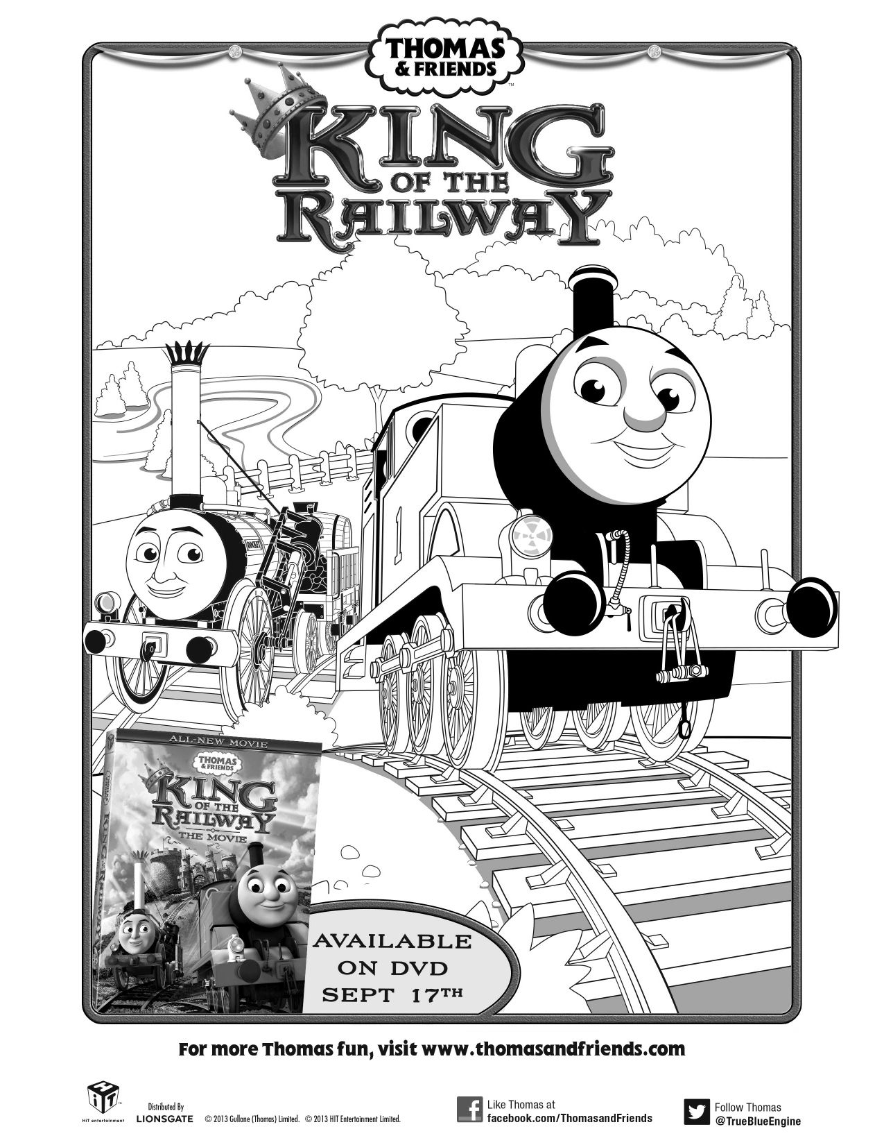 Thomas Friends King Of The Railway Movie Printable Coloring Sheet