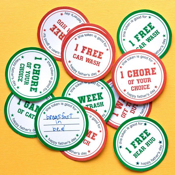 photograph about Printable Tokens named Do it yourself Fathers Working day Present Tokens - Free of charge Printable Obtain